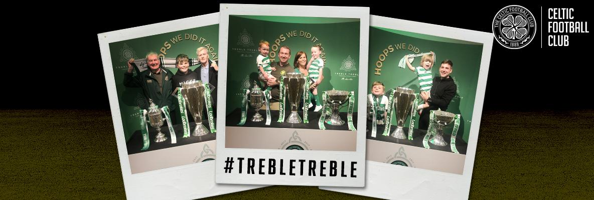 Fans continue the #trebletreble celebrations at Celtic Park