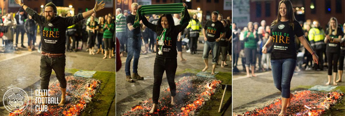 Hoops fans walk on fire for Celtic FC Foundation