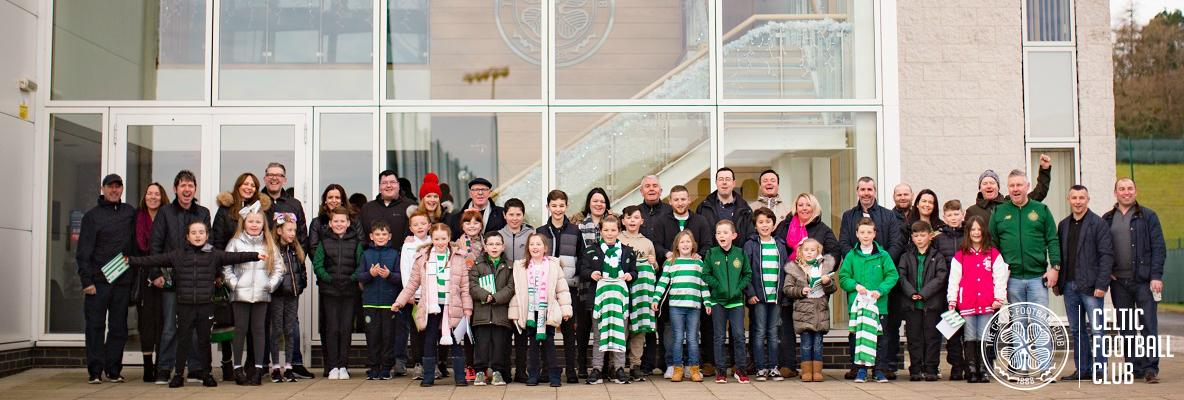 Young Hoops Club members meet the Bhoys at Lennoxtown