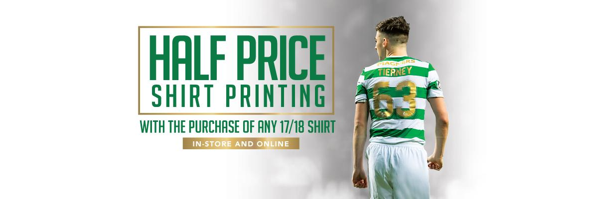 Half-price shirt printing available in-store & online