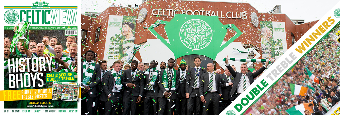 Giant Double Treble open-top bus poster in this week's Celtic View