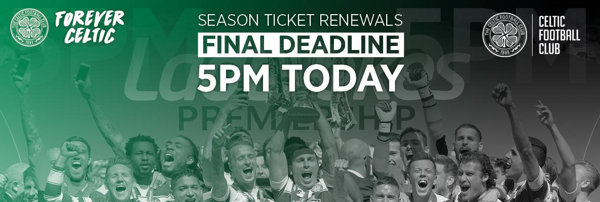 Don't lose your seat – last chance to renew for 2016/17