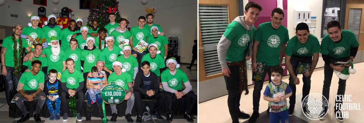 Celtic stars deliver £10k donation to children's hospital charity