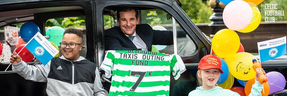 Celtic FC Foundation cheque means joy for kids on Troon taxi trip