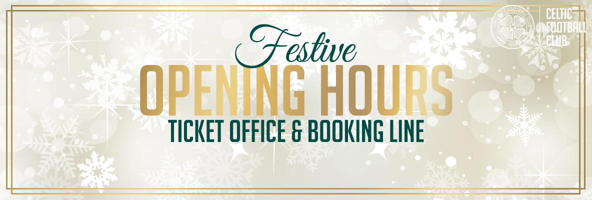 Ticket office opening hours for festive fixtures