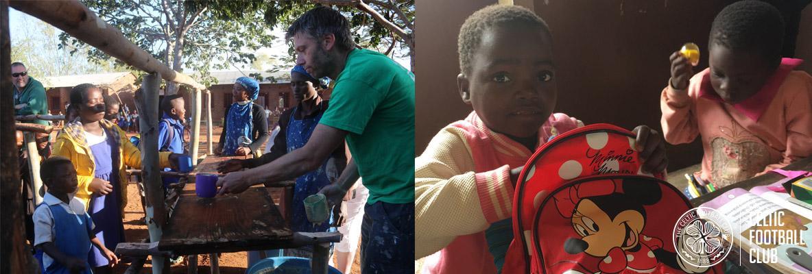 Celtic FC Foundation volunteers making friends in Malawi