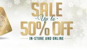 Sale continues in-store and online – up to 50% off