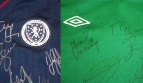 Scotland and Ireland national shirts for auction