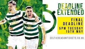 Season Ticket deadline extended until 5pm on Tuesday