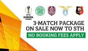 UEL group stage 3-match package on sale to season ticket holders