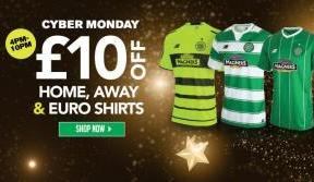 Up to £10 off Celtic kits exclusively online for Cyber Monday